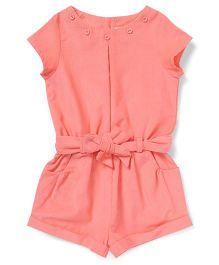 ToffyHouse Short Sleeves Corduroy Jumpsuit - Peach