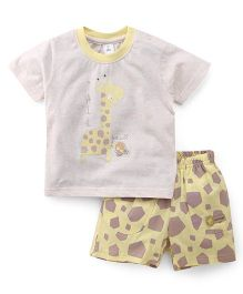 ToffyHouse Half Sleeves T-Shirt And Printed Shorts - Light Grey Yellow