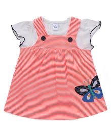 ToffyHouse Striped Frock Butterfly Patch With Inner Tee - Peach & White