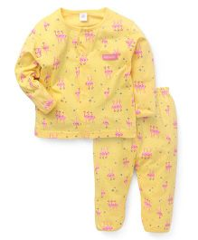 ToffyHouse Full Sleeves Printed Night Suit - Yellow