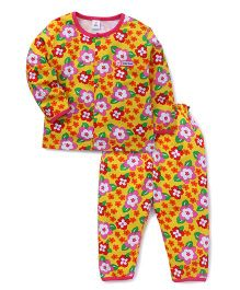 ToffyHouse Full Sleeves Night Suit Allover Floral Print - Multicolor