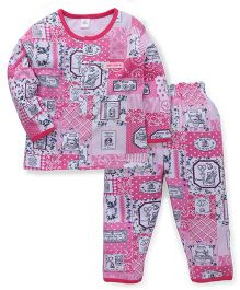 ToffyHouse Full Sleeves Night Suit Allover Print - Pink