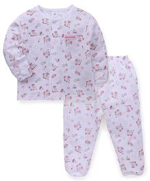 ToffyHouse Full Sleeves Night Suit Allover Print - White & Pink