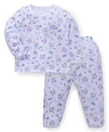 ToffyHouse Full Sleeves Night Suit Allover Print - White & Blue
