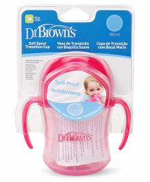 Dr. Brown's Soft Spout Transition Cup With Handles Stage 1 Pink - 180 ml