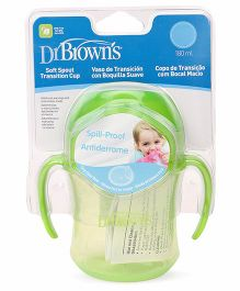 Dr. Brown's Soft Spout Transition Cup With Handles Stage 1 Green - 180 ml