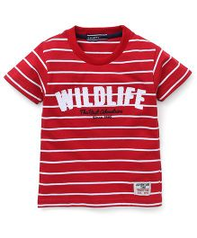 Smarty Half Sleeves Stripes T-Shirt Printed - Red