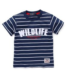 Smarty Half Sleeves Stripes T-Shirt Printed - Navy