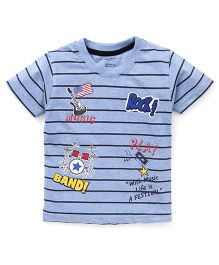 Smarty Half Sleeves Stripes T-Shirt Printed - Blue