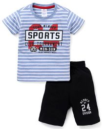 Smarty  Half Sleeves Stripes T-Shirt With Print And Shorts - Blue Black