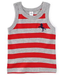 ToffyHouse Sleeveless Stripe T-Shirt Horse Embroidery - Grey Red