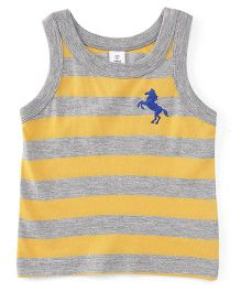 ToffyHouse Sleeveless Stripe T-Shirt Horse Embroidery - Yellow Grey