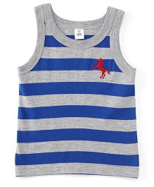 ToffyHouse Sleeveless Stripe T-Shirt Horse Embroidery - Royal Blue Grey