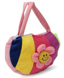 Funzoo Plush Shoulder Bag With Flower Applique - Pink