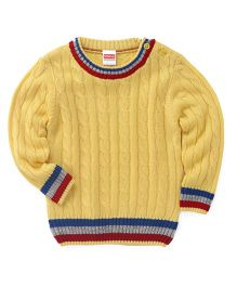 Babyhug Full Sleeves Pullover Sweater Cable Design - Yellow