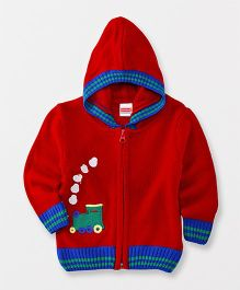 Babyhug Full Sleeves Hooded Neck Sweater Train Patch - Red