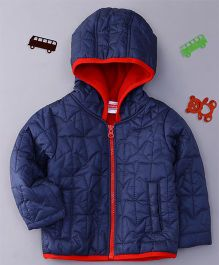 Babyhug Full Sleeves Hooded Jacket Stars Design - Navy Blue
