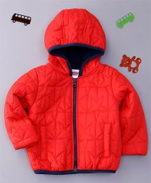 Babyhug Full Sleeves Hooded Jacket Stars Design - Red