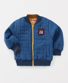 Babyhug Full Sleeves Solid Front Open Jacket Numeric 28 Patch - Blue