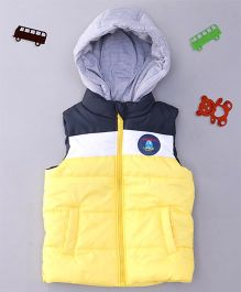 Babyhug Sleeveless Hooded Jacket - Yellow