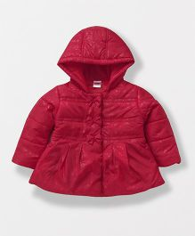 Babyhug Full Sleeves Hooded Jacket Bow Appliques - Red