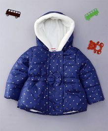 Babyhug Full Sleeves Hooded Frock Style Jacket Dots Print - Blue