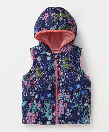 Babyhug Sleeveless Hooded Jacket Floral Print - Navy Blue