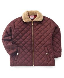 Babyhug Full Sleeves Quilted Jacket - Brown