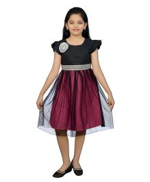 Ssmitn Short Sleeves Party Wear Frock - Black Purple Maroon