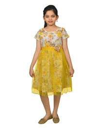 Ssmitn Round Neck Frock With Floral Print - White Yellow