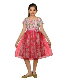 Ssmitn Round Neck Frock With Floral Print - White Pink