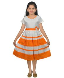 Ssmitn Half Sleeves Frock - Grey Orange
