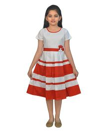 Ssmitn Half Sleeves Frock - Grey Red