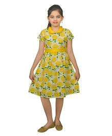 Ssmitn Short Sleeves Frock Floral Printed - Yellow