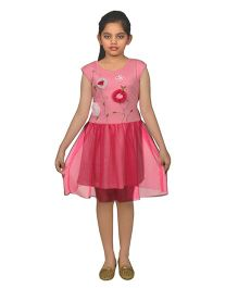 Ssmitn Short Sleeves Frock With Floral Applique - Pink