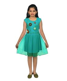 Ssmitn Short Sleeves Frock With Floral Applique - Sea Green