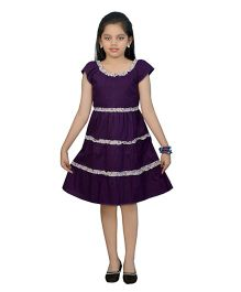 Ssmitn Short Sleeves Ruffled Pattern Frock - Violet