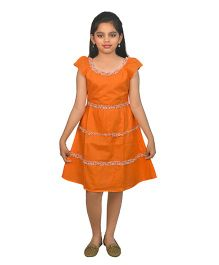 Ssmitn Short Sleeves Ruffled Pattern Frock - Orange