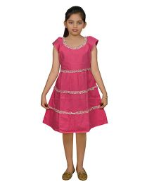 Ssmitn Short Sleeves Ruffled Pattern Frock - Pink