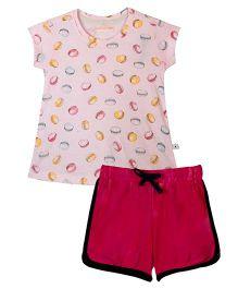 Raine And Jaine Macroon Print Tee & Shorts Girls Set - Pink