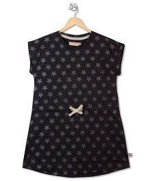 Raine And Jaine Bow Applique & Star Printed Tee - Black