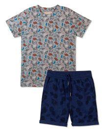 Raine And Jaine Dino Printed Tee & Shirt Boys Set - Blue