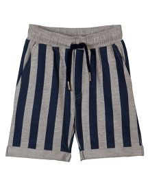 Raine And Jaine Stripes Boy Shorts - Grey & Black