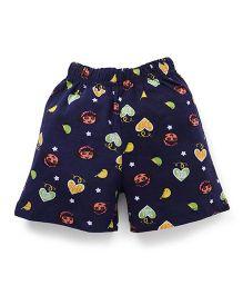 Dora Printed Shorts With Elasticated Waist - Navy