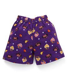 Dora Printed Shorts With Elasticated Waist - Purple
