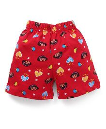 Dora Printed Shorts With Elasticated Waist - Red