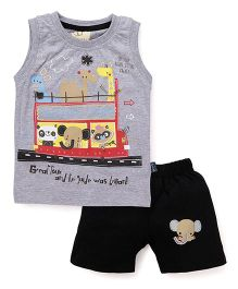 Olio Kids Sleeveless Printed T-Shirt And Shorts - Grey Black