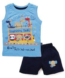 Olio Kids Sleeveless Printed T-Shirt And Shorts - Sky Blue & Navy
