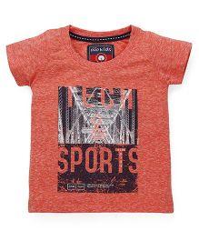 Olio Kids Half Sleeves Printed T-Shirt - Orange