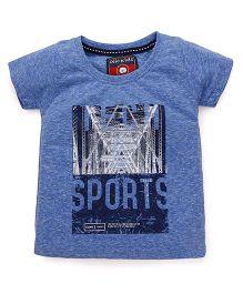 Olio Kids Half Sleeves Printed T-Shirt - Blue